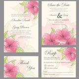 Wedding invitation set. (thank you card, save the date card, RSVP card Stock Photos