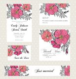 Wedding invitation set with vintage flowers Stock Photography