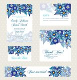 Wedding invitation set with vintage flowers Royalty Free Stock Photography