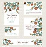 Wedding invitation set with vintage flowers Royalty Free Stock Photos