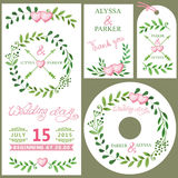 Wedding invitation set.Watercolor green branches,pink heart deco Stock Photography