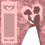 Wedding invitation. Silhouette of bride and groom Stock Photo