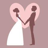 Wedding invitation. Silhouette of bride and groom Stock Photos
