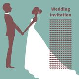 Wedding invitation. Silhouette of bride and groom Stock Images