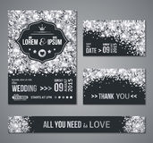 Wedding invitation Silver confetti and black background. Set of wedding invitation cards design. Silver confetti and black background. Vector illustration. Save Royalty Free Stock Image