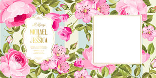 Wedding invitation card with flowers. Royalty Free Stock Image