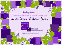 Wedding invitation squares flowers. Invitation template. Flowers green, purple squares, white background. Can be used for wedding invitations, birthday and other Stock Image