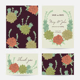 Wedding invitation with succulents. Save the date cards with collection decorative floral design elements. Stock Images