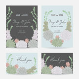 Wedding invitation with succulents. Save the date cards with collection decorative floral design elements. Stock Photos