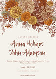 Wedding invitation. Summer and autumn flowers. Dahlias, Ruscus, Viburnum. Modern floristics. stock illustration