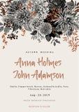 Wedding invitation. Summer and autumn flowers. Dahlias, Ruscus, Viburnum. stock illustration