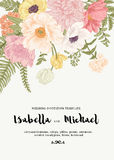 Wedding invitation with summer flowers. Stock Photos