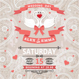 Wedding invitation with swans couple and paisley lace Stock Images