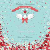 Wedding invitation.Swans,flying hearts,flowers background Royalty Free Stock Photo