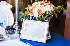 Wedding invitation on table Stock Photography