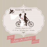 Wedding invitation, tandem bicycle Stock Photography