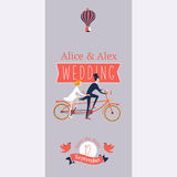 Wedding invitation with a tandem bike. Save the date. Templates for a wedding invitation with a tandem bike Stock Image