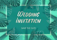 Wedding invitation in teal colors with silver details and tropical leaves vector illustration