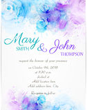 Wedding invitation template with abstract florals Royalty Free Stock Images