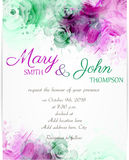 Wedding invitation template with abstract florals Royalty Free Stock Image