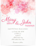 Wedding invitation template with abstract flowers Royalty Free Stock Images