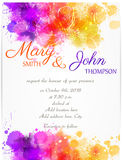 Wedding invitation template with abstract flowers Royalty Free Stock Photo