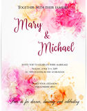 Wedding invitation template with abstract flowers. Wedding invitation template with abstract florals on watercolor background. Vector illustration stock illustration