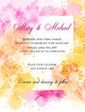 Wedding invitation template with abstract flowers. Vector illustration. Stock Photography
