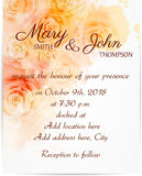 Wedding invitation template with abstract roses Royalty Free Stock Photography