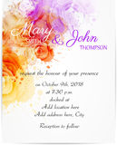 Wedding invitation template with abstract roses Royalty Free Stock Images