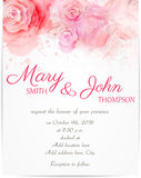 Wedding invitation template with abstract roses stock illustration