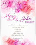 Wedding invitation template with abstract roses. On watercolor background stock illustration