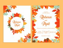 Wedding invitation template with beautiful flowers royalty free illustration