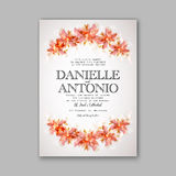 Wedding invitation template. Invitation or wedding card with abstract floral background stock illustration