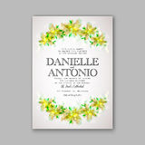 Wedding invitation template. Invitation or wedding card with abstract floral background vector illustration