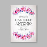 Wedding invitation template. Invitation or wedding card with abstract floral background royalty free illustration