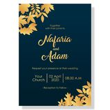 Wedding invitation template with elegant flowers vector illustration