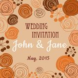 Wedding invitation template with floral border Stock Photo