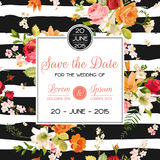 Wedding Invitation Template. Floral Greeting Card with Lily and Orchid Flowers. Decoration for Marriage Party Celebration Stock Photo