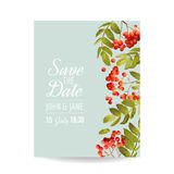 Wedding Invitation Template. Floral Greeting Card with Rowan Berry. Decoration for Marriage Party Celebration Royalty Free Stock Photography