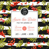 Wedding Invitation Template. Floral Greeting Card with Rowanberry and Leaves. Decoration for Marriage Party Celebration Royalty Free Stock Photography