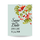 Wedding Invitation Template. Floral Save the Date Card with Rowan Berry. Decoration for Marriage Party Celebration Stock Photo