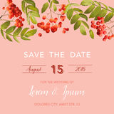 Wedding Invitation Template. Floral Save the Date Card with Rowan Berry. Decoration for Marriage Party Celebration Royalty Free Stock Image