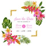 Wedding Invitation Template with Flowers. Tropical Floral Save the Date Card. Exotic Flower Romantic Design for Greeting. Postcard, Birthday, Anniversary vector illustration