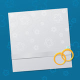 Wedding Invitation template. Wedding Invitation with gold rings and retro pattern Stock Photography
