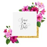 Wedding Invitation Template with Hibiscus Flowers and Golden Frame. Save the Date Floral Card for Greetings, Anniversary. Birthday. Botanical Design. Vector Royalty Free Stock Images
