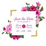 Wedding Invitation Template with Hibiscus Flowers and Golden Frame. Save the Date Floral Card for Greetings, Anniversary. Birthday. Botanical Design. Vector Stock Images