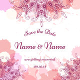 Wedding invitation template with individual concept. Design for invitation, thank you card, save the date card. Stock Image