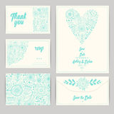 Wedding Invitation Template: invitation, envelope, thank you card, save the date cards. Stock Image