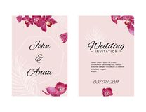 Wedding invitation template with orchids and white sketch elements. Vector pink illustration. royalty free illustration